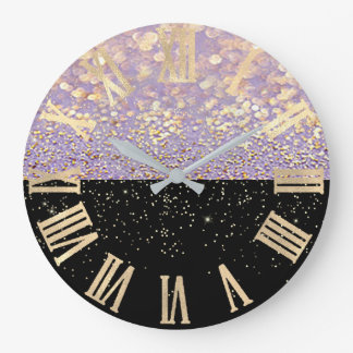 Black Gold Glitter Confetti Purple Roman Numbers Large Clock