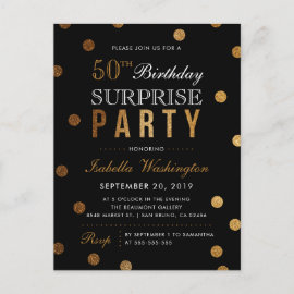 Black & Gold Glitter Confetti Surprise Party Invitation Postcard