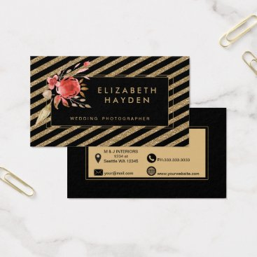 Professional Business black gold glitter coral Floral business card