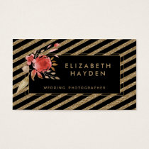 black gold glitter coral Floral business card