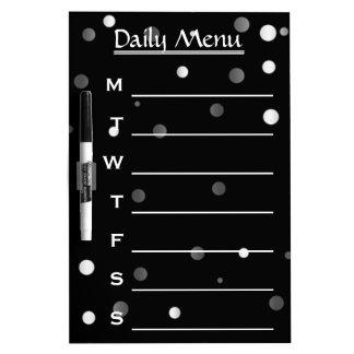 Black Gold Glitter Daily Menu Weekly Menu Dry-Erase Board