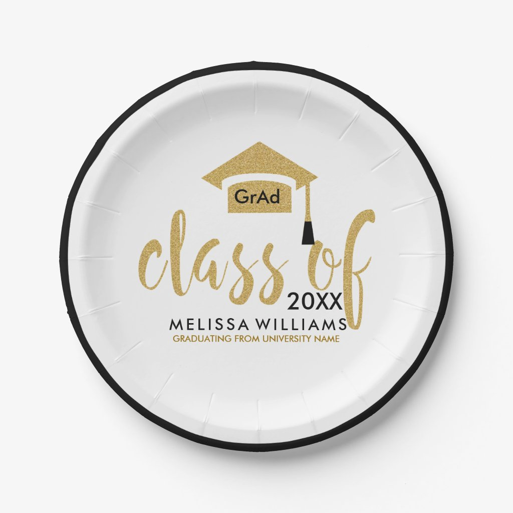 Black & Gold Glitter Design Modern Class Of 2017