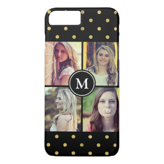 Black Gold Glitter Dots Photo Collage Monogrammed iPhone 7 Plus Case