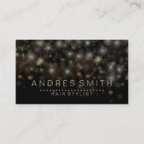 Black Gold Glitter Faux Foil Confetti Hair Stylist Business Card