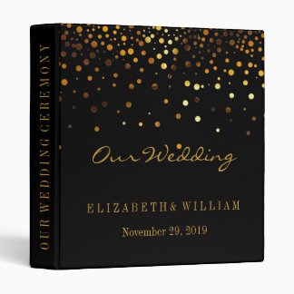 Black Gold Glitter Faux Foil Confetti Personalize 3 Ring Binder