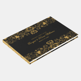 Black & Gold Glitter Floral Lace Border Guest Book