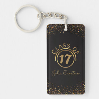 Black Gold Glitter Graduation   Your Name Class of Keychain