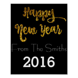 Black & Gold Glitter Happy New Year Poster