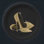 """Black Gold Glitter High Heel Shoes Paper Plate<br><div class=""""desc"""">Gold glitter high heel shoe birthday party and event paper plates. You can add text to personalize,  and change the background color on these beautiful black and gold high heel shoe paper plates.</div>"""