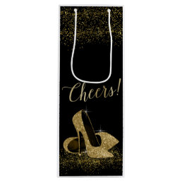 Black Gold Glitter High Heel Shoes Wine Gift Bag