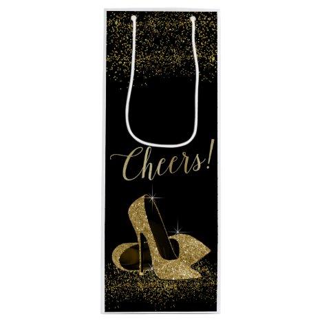 Black Gold Glitter High Heel Shoes Wine Gift Bag