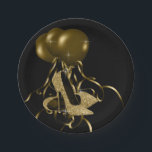 "Black Gold Glitter High Heel Shoes Womans Birthday Paper Plate<br><div class=""desc"">Gold glitter high heel shoe birthday party and event paper plates. You can add text to personalize,  and change the background color on these beautiful black and gold high heel shoe paper plates.</div>"