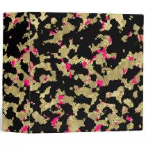 Black Gold Glitter Hot Pink Abstract Peeling Glam 3 Ring Binder