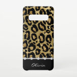 """Black & Gold Glitter Jaguar Print Diamonds Samsung Galaxy S10 Case<br><div class=""""desc"""">This Samsung Galaxy S10 Case features a black and gold glitter jaguar pattern,  a faux diamond divider and your name in white script on a black background.</div>"""