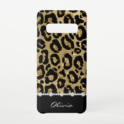 Black & Gold Glitter Jaguar Print Diamonds Phone Case