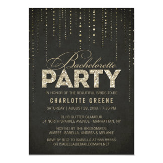 Black & Gold Glitter Look Bachelorette Party Card