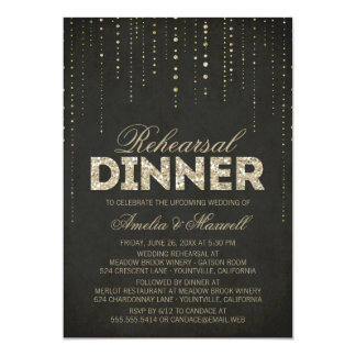 Black & Gold Glitter Look Rehearsal Dinner Invite