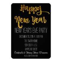 Black & Gold Glitter New Year's Eve Invitation