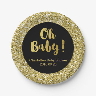 Black Gold Glitter Oh Baby Baby Shower Plate