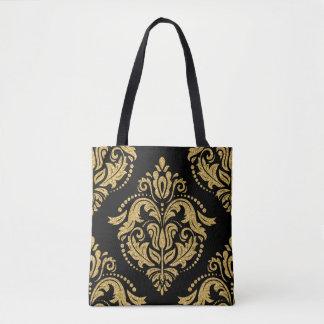 Black & Gold Glitter Ornate Damasks Closeup Tote Bag