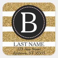 Black & Gold Glitter Return Address Square Sticker