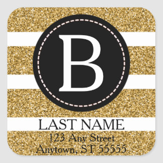 Black & Gold Glitter Return Address Square Sticker