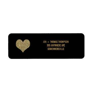Black & Gold Glitter Return Address Wedding Labels