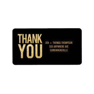 Black & Gold Glitter Return Address Wedding Labels Address Label