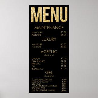 Black & Gold Glitter Salon Menu Wall Poster
