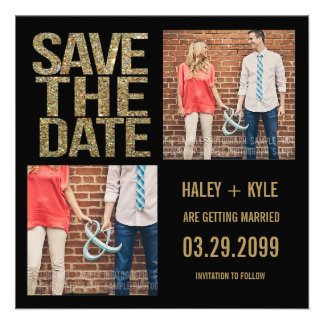 Black & Gold Glitter Save the Date Photo Cards