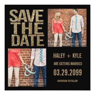 "Black & Gold Glitter Save the Date Photo Cards 5.25"" Square Invitation Card"