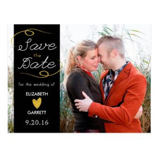 Black / Gold Glitter Save the Date Photo Postcard