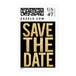 Black & Gold Glitter Save the Date Postage Stamp