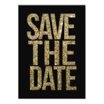 Black & Gold Glitter Save the Date Typography Card