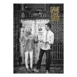 Black & Gold Glitter Save the Date Typography Personalized Invitation
