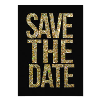 Black & Gold Glitter Save the Date Typography Personalized Invites