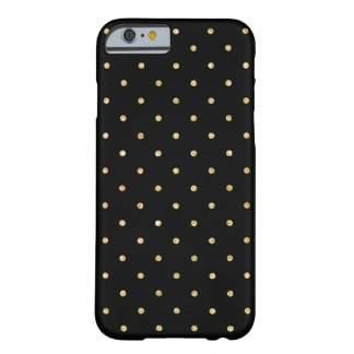 Black Gold Glitter Small Polka Dots Pattern Barely There iPhone 6 Case