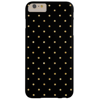 Black Gold Glitter Small Polka Dots Pattern Barely There iPhone 6 Plus Case