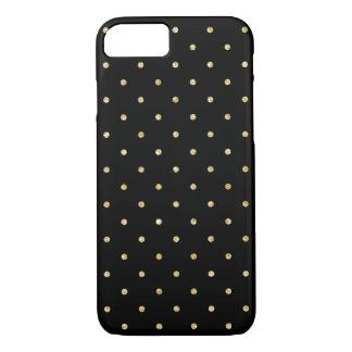 Black Gold Glitter Small Polka Dots Pattern iPhone 8/7 Case