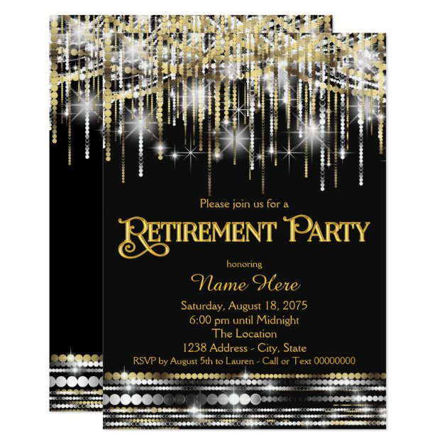 black gold glitter sparkle lights retirement party card
