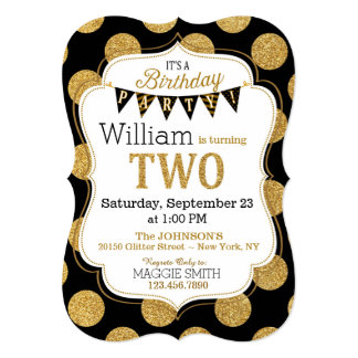 Black Gold Glitter Sparkle Second Birthday Invite