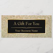 Black Gold Glitter Sparkling Gift Certificate Card