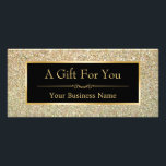 """Black Gold Glitter Sparkling Gift Certificate Card<br><div class=""""desc"""">Black Gold Glitter Sparkling Gift Certificate Card.  (1) For further customization,  please click the &quot;customize further&quot; link and use our design tool to modify this template.  (2) If you need help or matching items,  please contact me.</div>"""