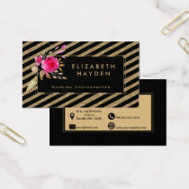 black gold glitter stripes Floral business card