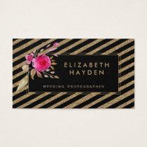 black gold glitter stripes Floral business card