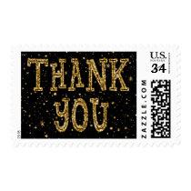 Black & Gold Glitter Thank You Postage