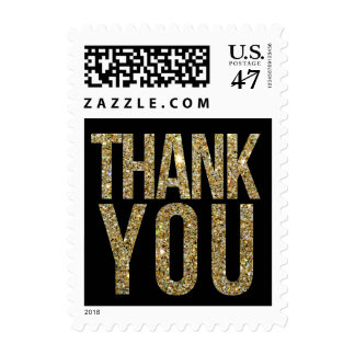 Black & Gold Glitter Thank You Postage Stamp