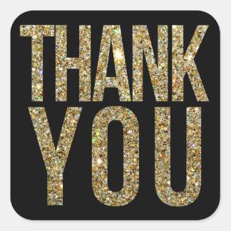 Black Gold Glitter Thank You Wedding Sticker