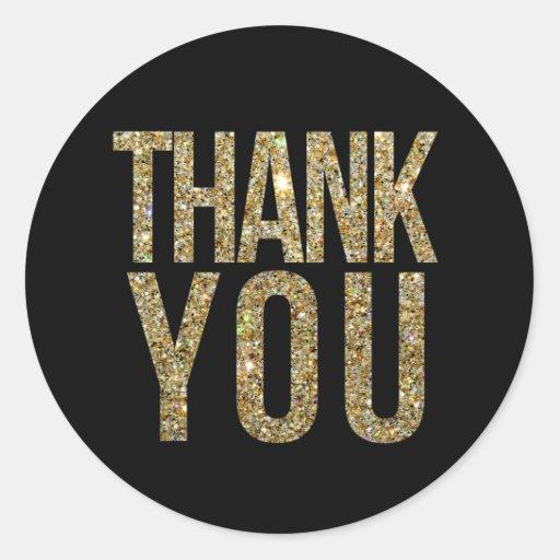Black Amp Gold Glitter Thank You Wedding Sticker Zazzle