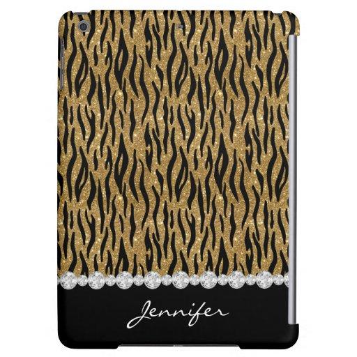 Black & Gold Glitter Tiger Print Diamonds W/Name Case For iPad Air